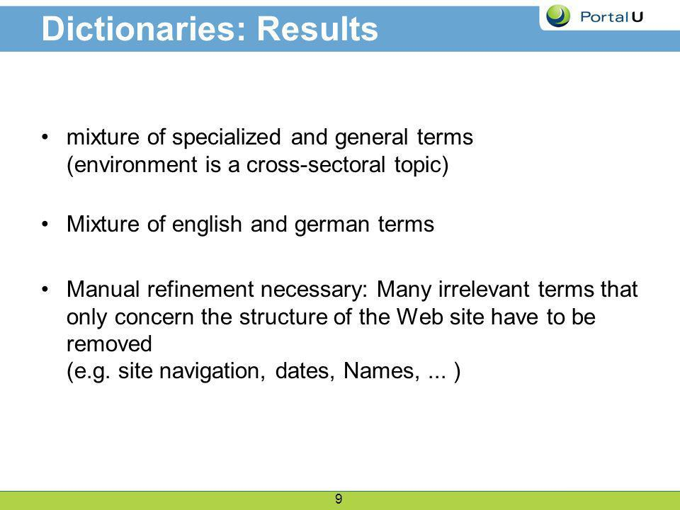 9 Dictionaries: Results mixture of specialized and general terms (environment is a cross-sectoral topic) Mixture of english and german terms Manual refinement necessary: Many irrelevant terms that only concern the structure of the Web site have to be removed (e.g.