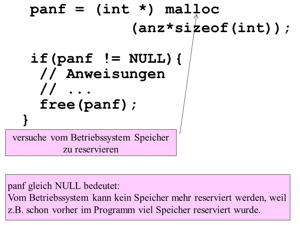 panf = (int *) malloc (anz*sizeof(int)); if(panf != NULL){ // Anweisungen //...