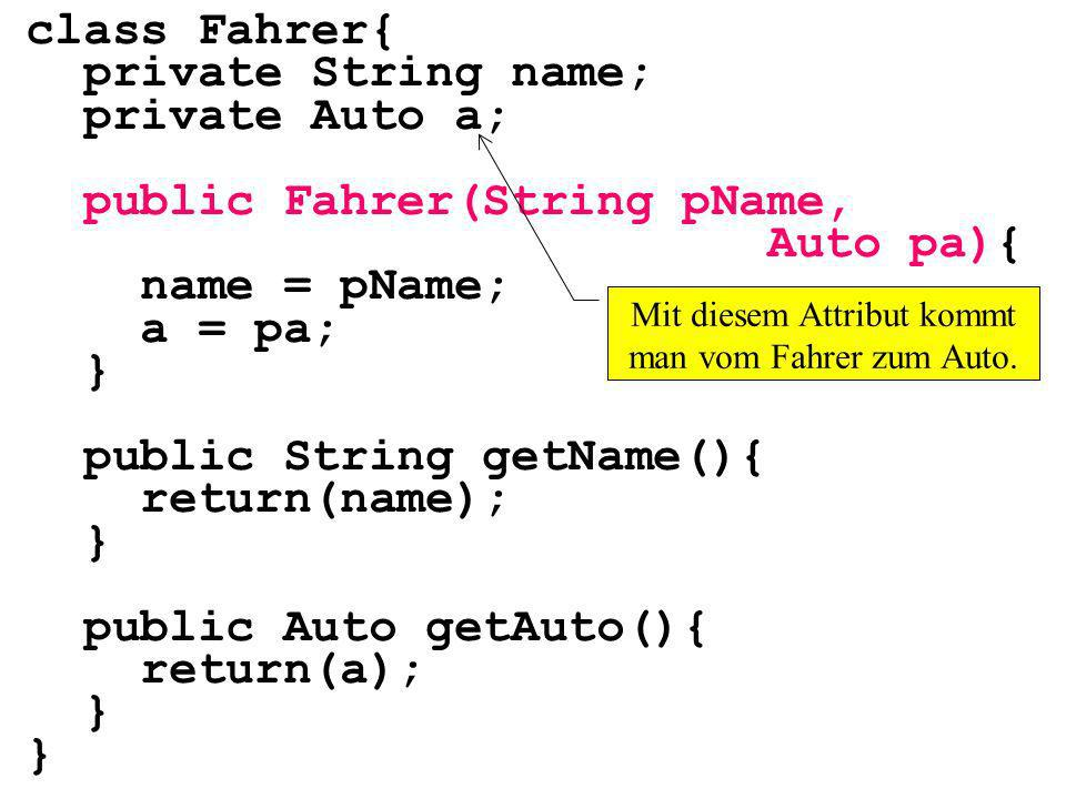 class Fahrer{ private String name; private Auto a; public Fahrer(String pName, Auto pa){ name = pName; a = pa; } public String getName(){ return(name); } public Auto getAuto(){ return(a); } Mit diesem Attribut kommt man vom Fahrer zum Auto.