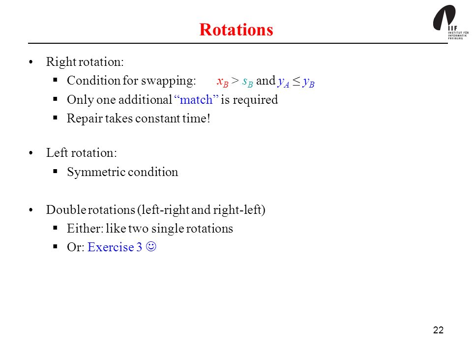 22 Rotations Right rotation: Condition for swapping: x B > s B and y A y B Only one additional match is required Repair takes constant time.