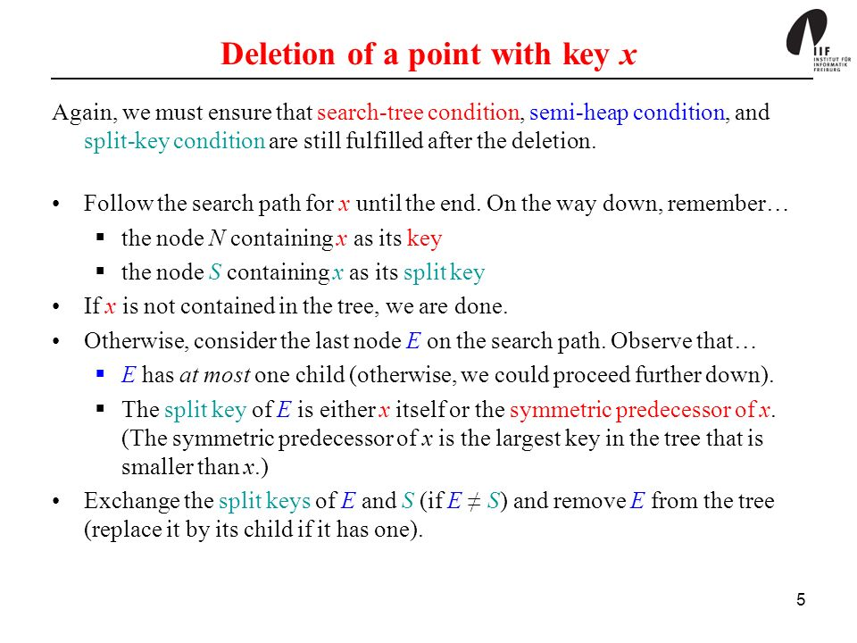 5 Deletion of a point with key x Again, we must ensure that search-tree condition, semi-heap condition, and split-key condition are still fulfilled after the deletion.