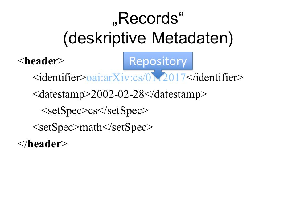 Records (deskriptive Metadaten) oai:arXiv:cs/ cs math Repository