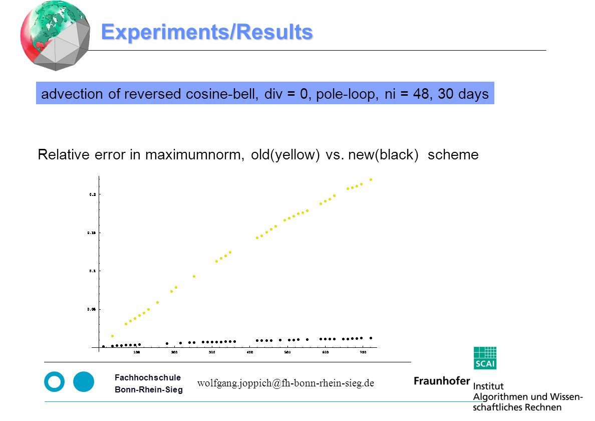 Seite 8 Fachhochschule Bonn-Rhein-Sieg Experiments/Results advection of reversed cosine-bell, div = 0, pole-loop, ni = 48, 30 days Relative error in maximumnorm, old(yellow) vs.