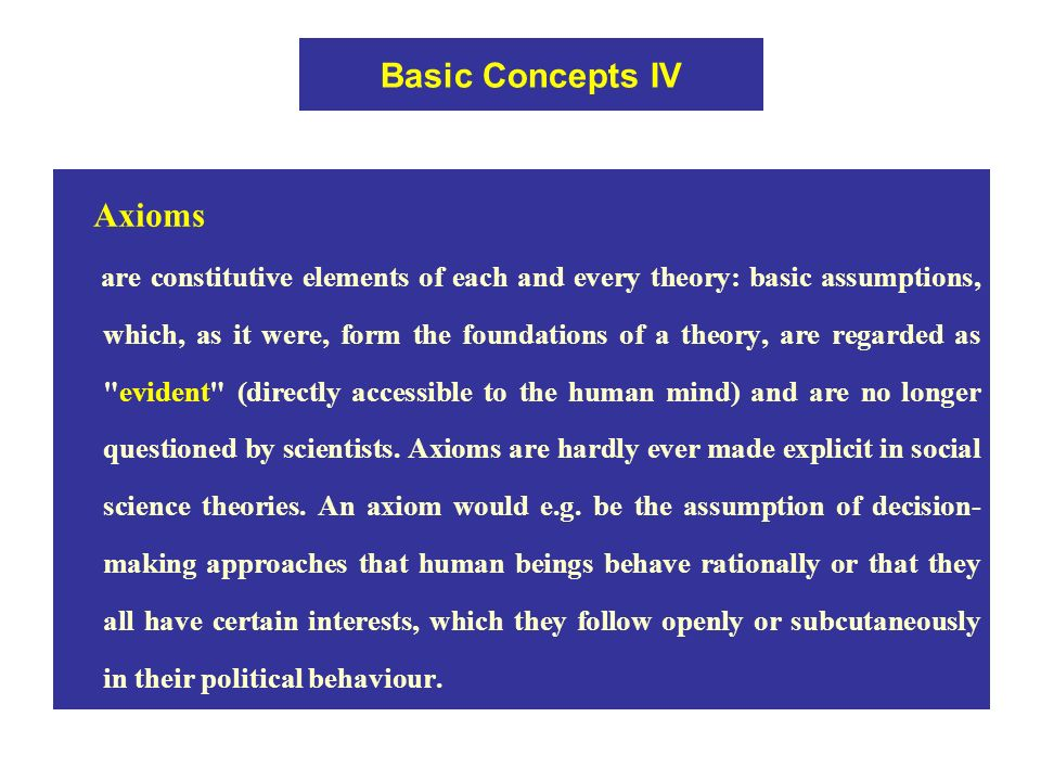 Basic Concepts IV Axioms are constitutive elements of each and every theory: basic assumptions, which, as it were, form the foundations of a theory, are regarded as evident (directly accessible to the human mind) and are no longer questioned by scientists.