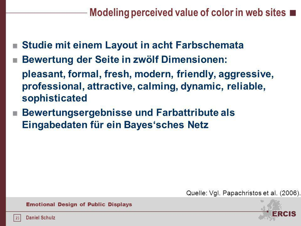 23 Emotional Design of Public Displays Daniel Schulz Modeling perceived value of color in web sites Studie mit einem Layout in acht Farbschemata Bewertung der Seite in zwölf Dimensionen: pleasant, formal, fresh, modern, friendly, aggressive, professional, attractive, calming, dynamic, reliable, sophisticated Bewertungsergebnisse und Farbattribute als Eingabedaten für ein Bayessches Netz Quelle: Vgl.