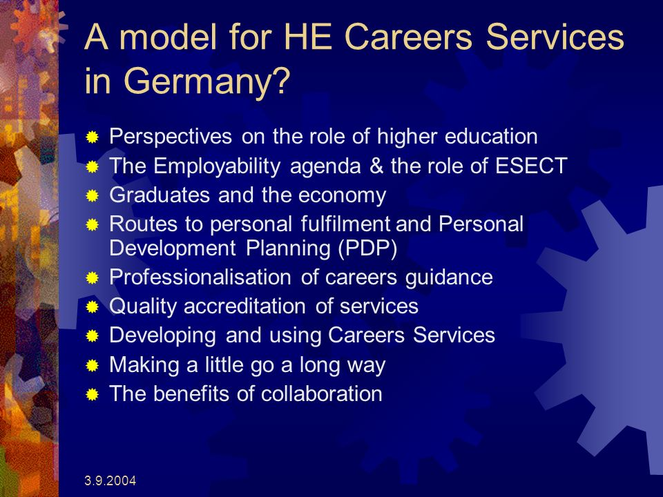 A model for HE Careers Services in Germany.