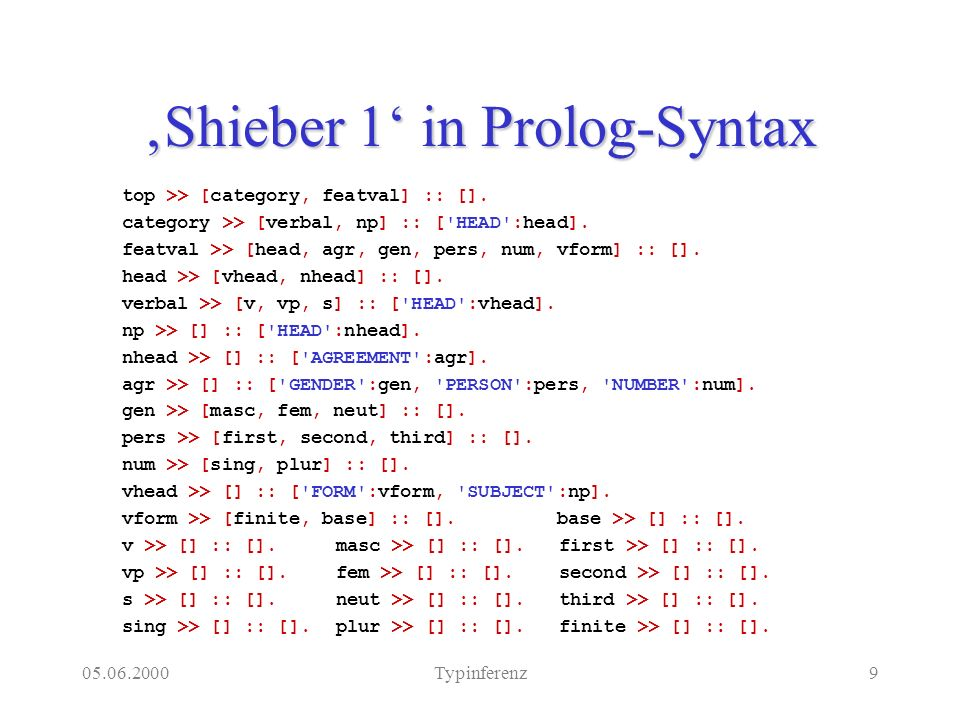 Typinferenz9 Shieber 1 in Prolog-Syntax top >> [category, featval] :: [].