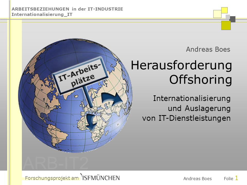 ARBEITSBEZIEHUNGEN in der IT-INDUSTRIE Internationalisierung_IT ARB-IT2 Forschungsprojekt am Andreas Boes Folie 1 Andreas Boes Herausforderung Offshoring Internationalisierung und Auslagerung von IT-Dienstleistungen
