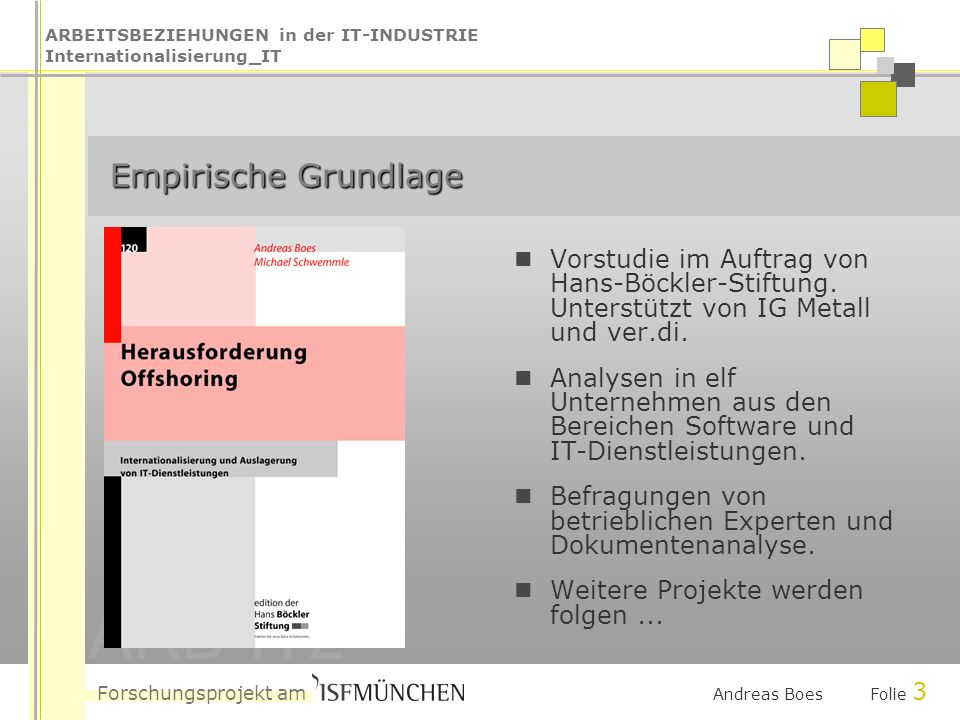 ARBEITSBEZIEHUNGEN in der IT-INDUSTRIE Internationalisierung_IT Forschungsprojekt am ARB-IT2 Andreas Boes Folie 3 Empirische Grundlage Empirische Grundlage Vorstudie im Auftrag von Hans-Böckler-Stiftung.