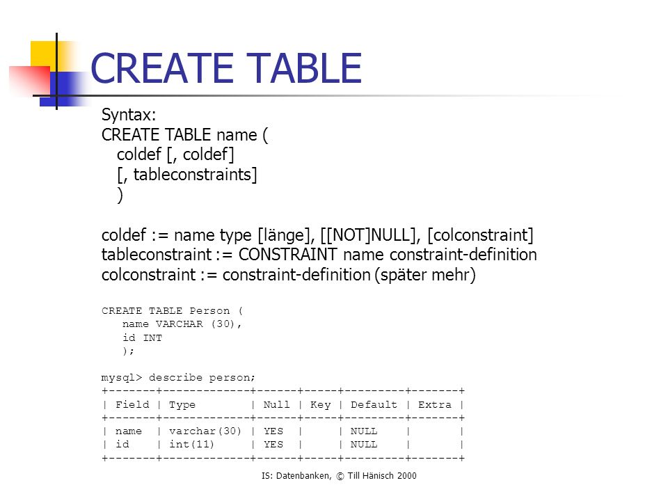 IS: Datenbanken, © Till Hänisch 2000 CREATE TABLE Syntax: CREATE TABLE name ( coldef [, coldef] [, tableconstraints] ) coldef := name type [länge], [[NOT]NULL], [colconstraint] tableconstraint := CONSTRAINT name constraint-definition colconstraint := constraint-definition (später mehr) CREATE TABLE Person ( name VARCHAR (30), id INT ); mysql> describe person; | Field | Type | Null | Key | Default | Extra | | name | varchar(30) | YES | | NULL | | | id | int(11) | YES | | NULL | |