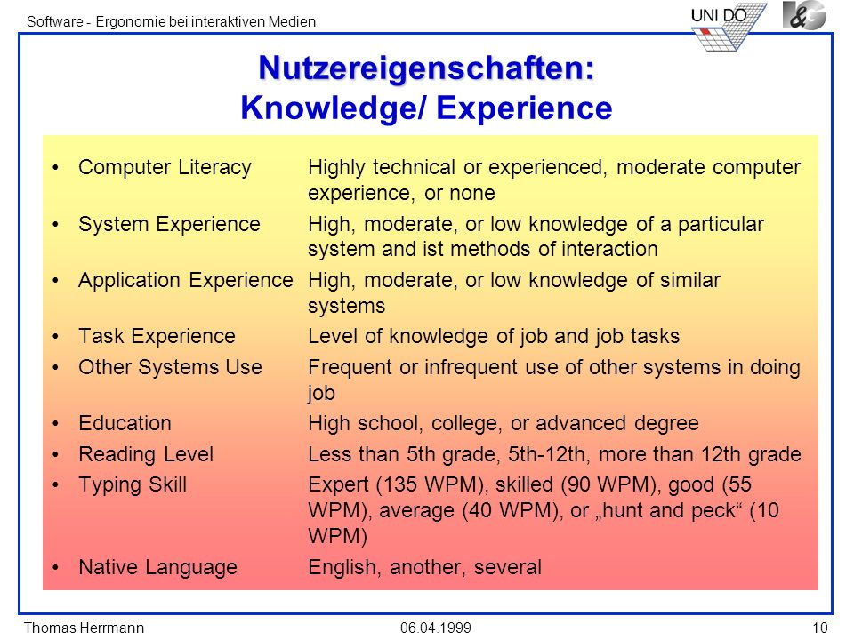Thomas Herrmann Software - Ergonomie bei interaktiven Medien 06.04.1999 10 Nutzereigenschaften: Nutzereigenschaften: Knowledge/ Experience Computer LiteracyHighly technical or experienced, moderate computer experience, or none System ExperienceHigh, moderate, or low knowledge of a particular system and ist methods of interaction Application ExperienceHigh, moderate, or low knowledge of similar systems Task ExperienceLevel of knowledge of job and job tasks Other Systems UseFrequent or infrequent use of other systems in doing job EducationHigh school, college, or advanced degree Reading LevelLess than 5th grade, 5th-12th, more than 12th grade Typing SkillExpert (135 WPM), skilled (90 WPM), good (55 WPM), average (40 WPM), or hunt and peck (10 WPM) Native LanguageEnglish, another, several