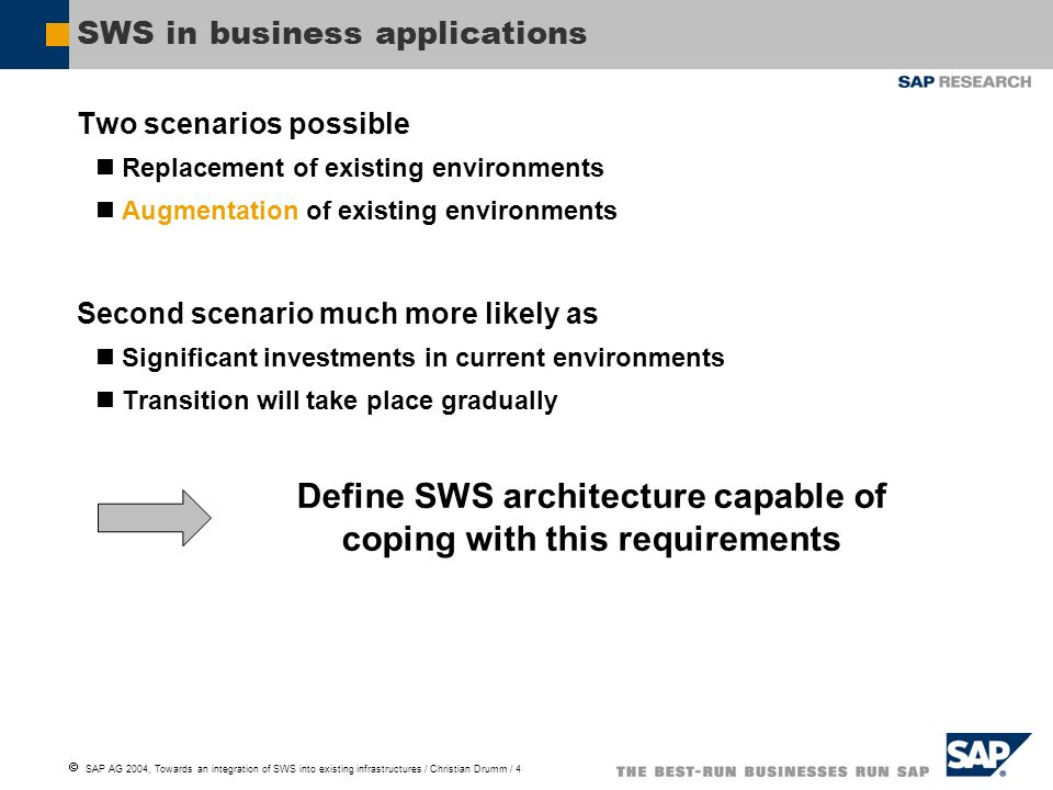 SAP AG 2004, Towards an integration of SWS into existing infrastructures / Christian Drumm / 4 SWS in business applications Two scenarios possible Replacement of existing environments Augmentation of existing environments Second scenario much more likely as Significant investments in current environments Transition will take place gradually Define SWS architecture capable of coping with this requirements