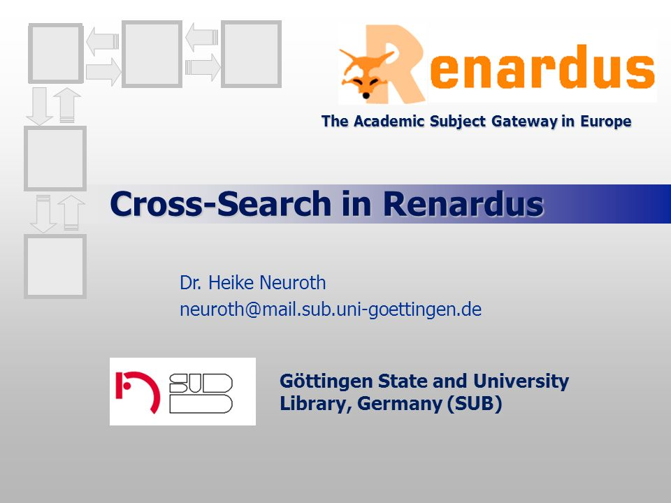 Cross-Search in Renardus Göttingen State and University Library, Germany (SUB) Dr.