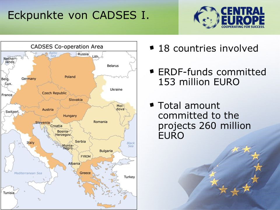 18 countries involved ERDF-funds committed 153 million EURO Total amount committed to the projects 260 million EURO Eckpunkte von CADSES I.