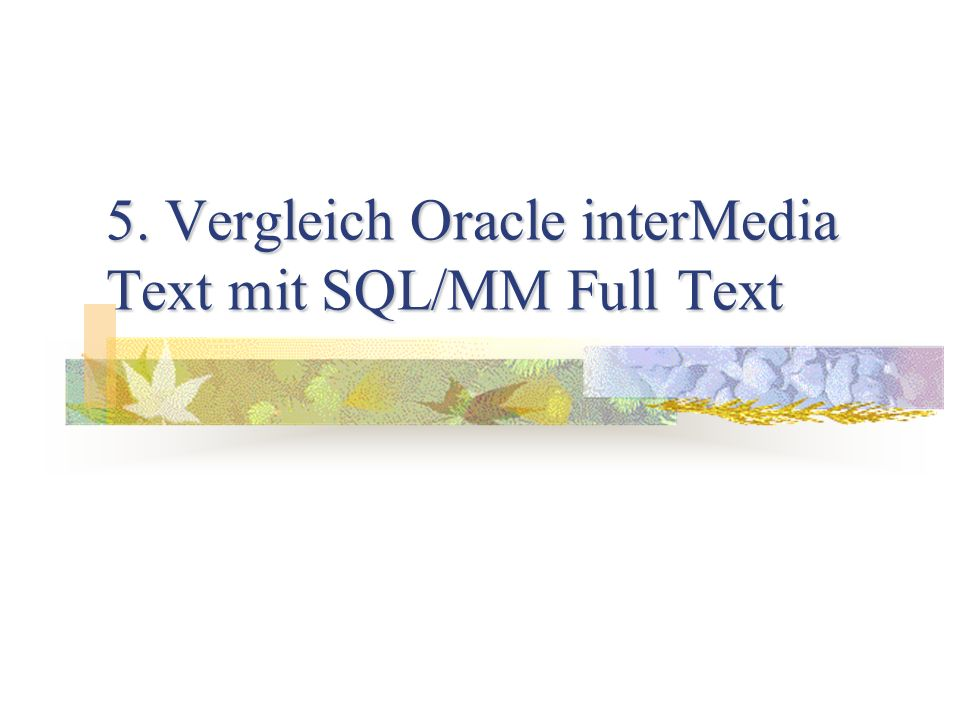 5. Vergleich Oracle interMedia Text mit SQL/MM Full Text