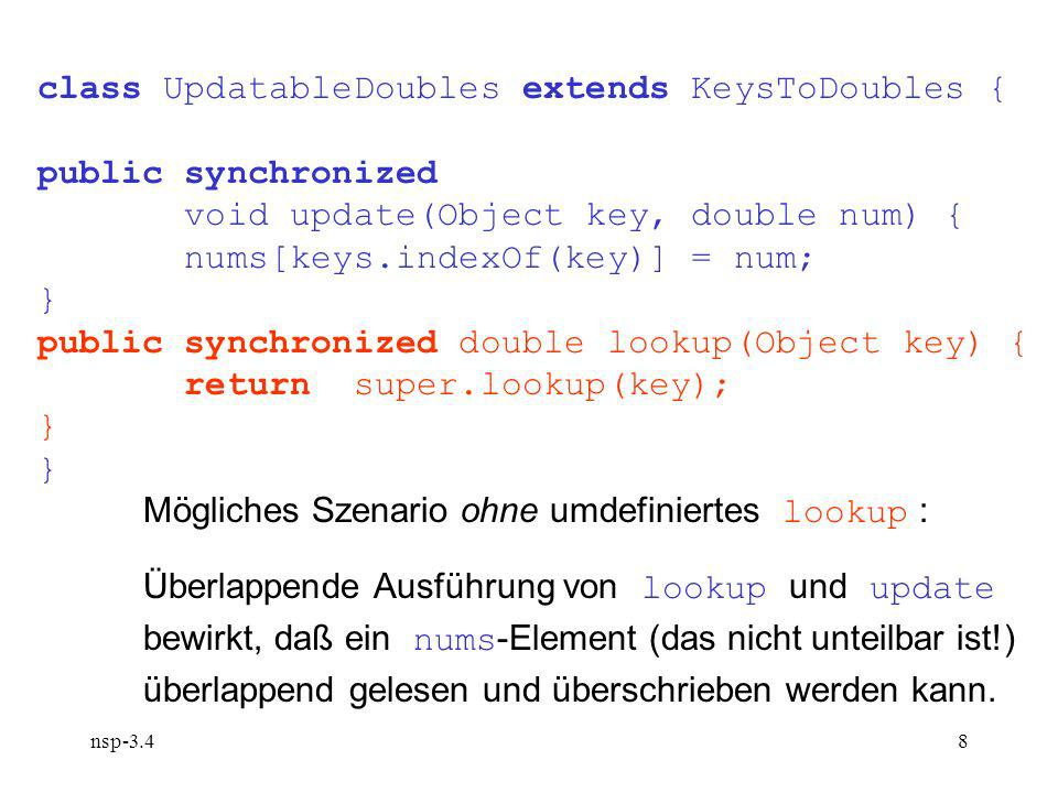 nsp-3.48 class UpdatableDoubles extends KeysToDoubles { public synchronized void update(Object key, double num) { nums[keys.indexOf(key)] = num; } public synchronized double lookup(Object key) { return super.lookup(key); } Mögliches Szenario ohne umdefiniertes lookup : Überlappende Ausführung von lookup und update bewirkt, daß ein nums -Element (das nicht unteilbar ist!) überlappend gelesen und überschrieben werden kann.