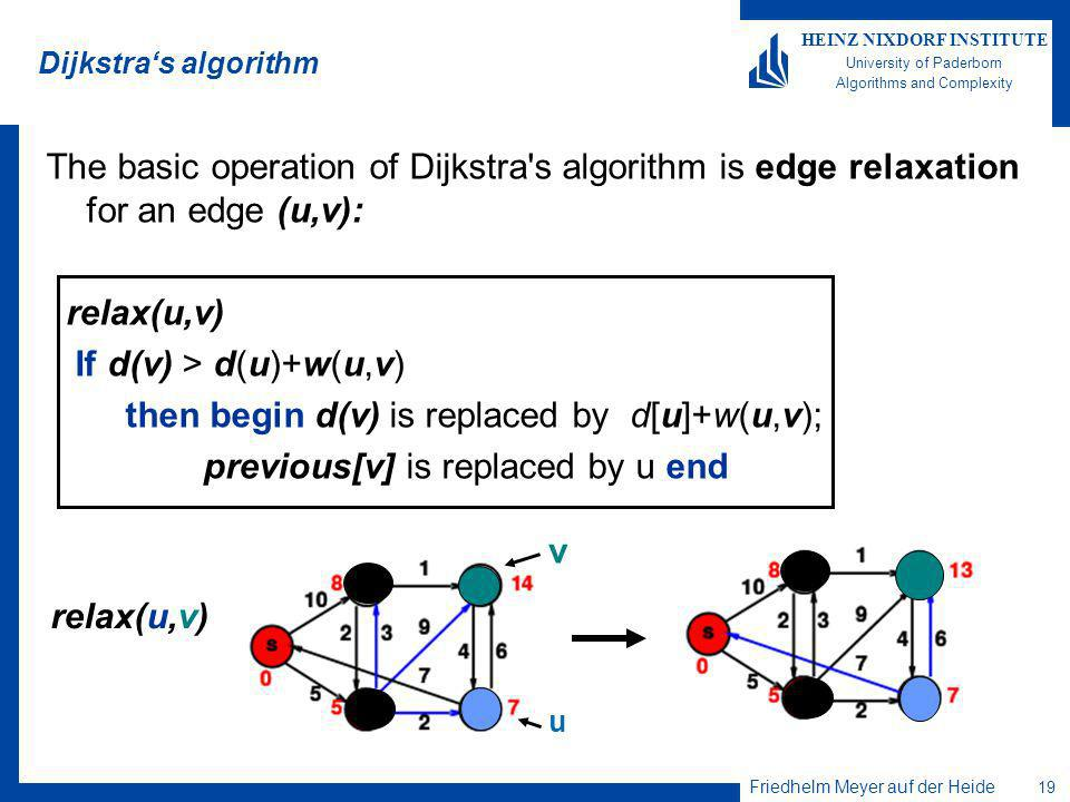 Friedhelm Meyer auf der Heide 19 HEINZ NIXDORF INSTITUTE University of Paderborn Algorithms and Complexity Dijkstras algorithm The basic operation of Dijkstra s algorithm is edge relaxation for an edge (u,v): relax(u,v) If d(v) > d(u)+w(u,v) then begin d(v) is replaced by d[u]+w(u,v); previous[v] is replaced by u end relax(u,v) v u