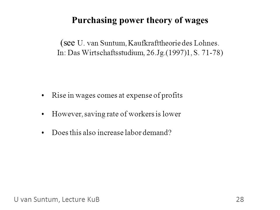 WS 2006/07 28 U. van Suntum 28 Purchasing power theory of wages (see U.