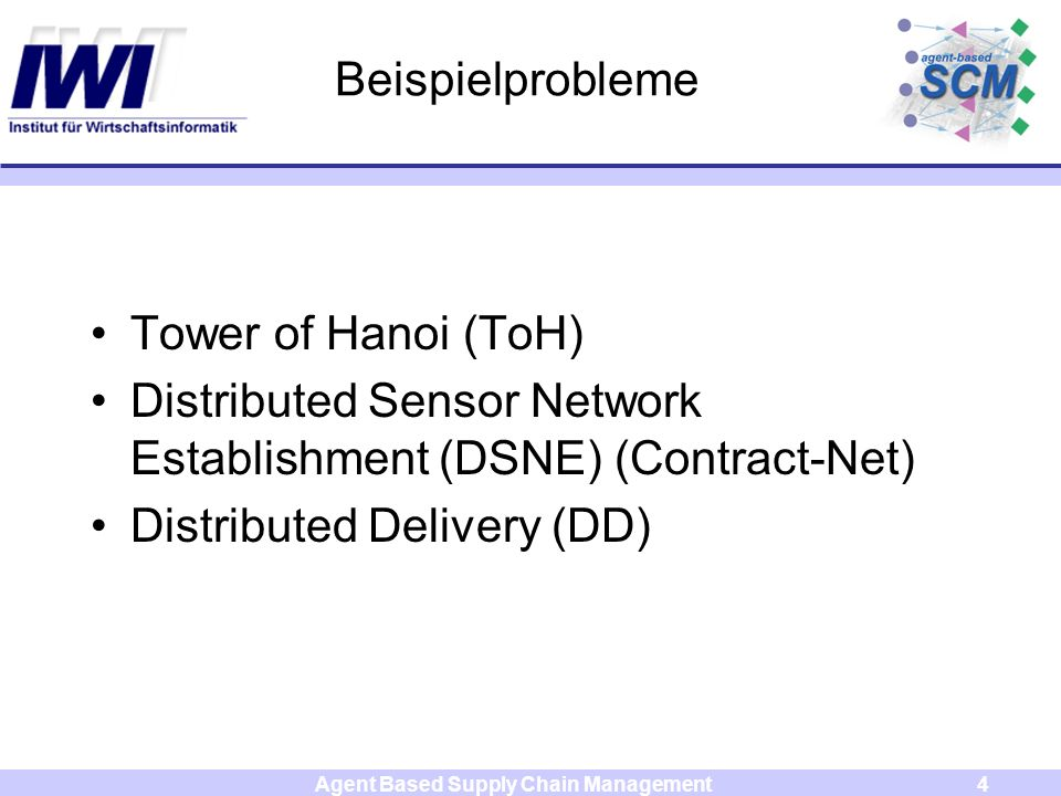 Agent Based Supply Chain Management4 Beispielprobleme Tower of Hanoi (ToH) Distributed Sensor Network Establishment (DSNE) (Contract-Net) Distributed Delivery (DD)