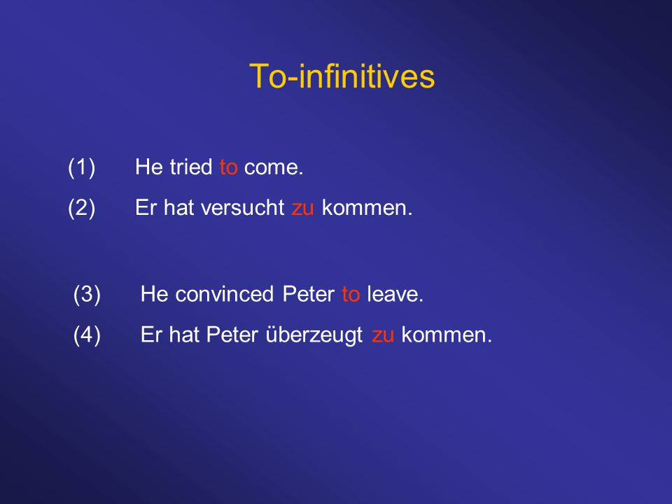 To-infinitives (1)He tried to come. (2)Er hat versucht zu kommen.