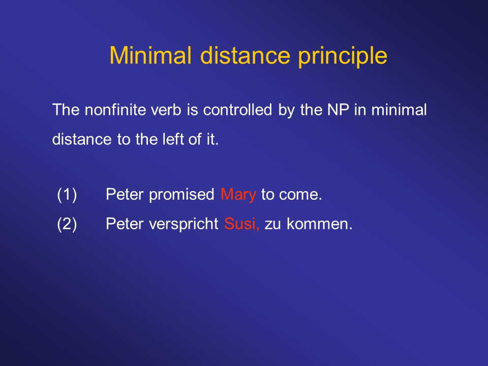 Minimal distance principle The nonfinite verb is controlled by the NP in minimal distance to the left of it.