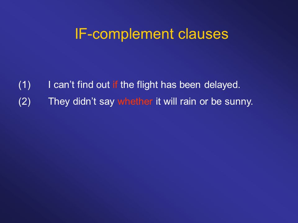 IF-complement clauses (1)I cant find out if the flight has been delayed.
