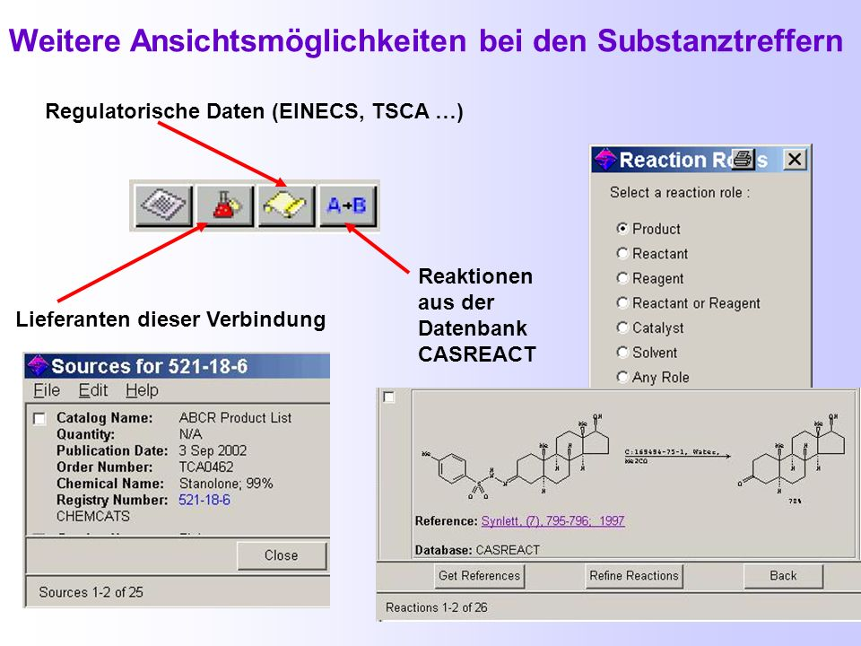 Textstellenbeispiel Suche über Explore by Chemical Substance Substance Identifier Registry-Nummer des Dihydrotestosterons P = preparation
