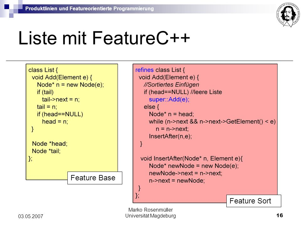 Produktlinien und Featureorientierte Programmierung Marko Rosenmüller Universität Magdeburg16 03.05.2007 Liste mit FeatureC++ Feature Sort Feature Base