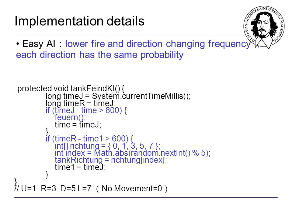 Easy AI lower fire and direction changing frequency each direction has the same probability protected void tankFeindKI() { long timeJ = System.currentTimeMillis(); long timeR = timeJ; if (timeJ - time > 800) { feuern(); time = timeJ; } if (timeR - time1 > 600) { int[] richtung = { 0, 1, 3, 5, 7 }; int index = Math.abs(random.nextInt() % 5); tankRichtung = richtung[index]; time1 = timeJ; } // U=1 R=3 D=5 L=7 No Movement=0 protected void tankFeindKI() { long timeJ = System.currentTimeMillis(); long timeR = timeJ; if (timeJ - time > 800) { feuern(); time = timeJ; } if (timeR - time1 > 600) { int[] richtung = { 0, 1, 3, 5, 7 }; int index = Math.abs(random.nextInt() % 5); tankRichtung = richtung[index]; time1 = timeJ; } // U=1 R=3 D=5 L=7 No Movement=0 Implementation details