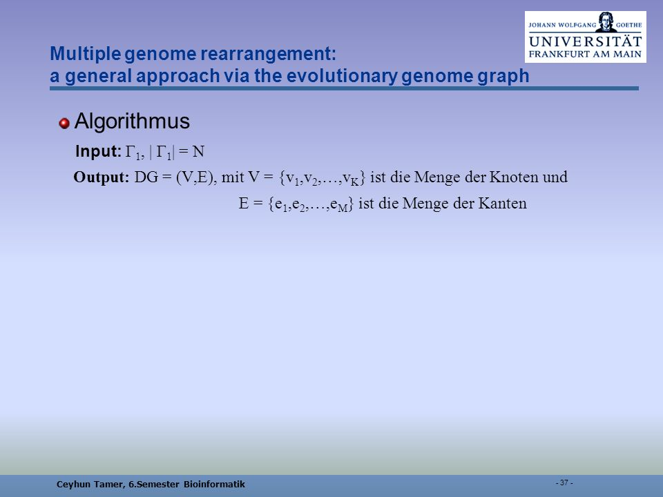 Ceyhun Tamer, 6.Semester Bioinformatik Multiple genome rearrangement: a general approach via the evolutionary genome graph Algorithmus Input: Γ 1, | Γ 1 | = N Output: DG = (V,E), mit V = {v 1,v 2,…,v K } ist die Menge der Knoten und E = {e 1,e 2,…,e M } ist die Menge der Kanten