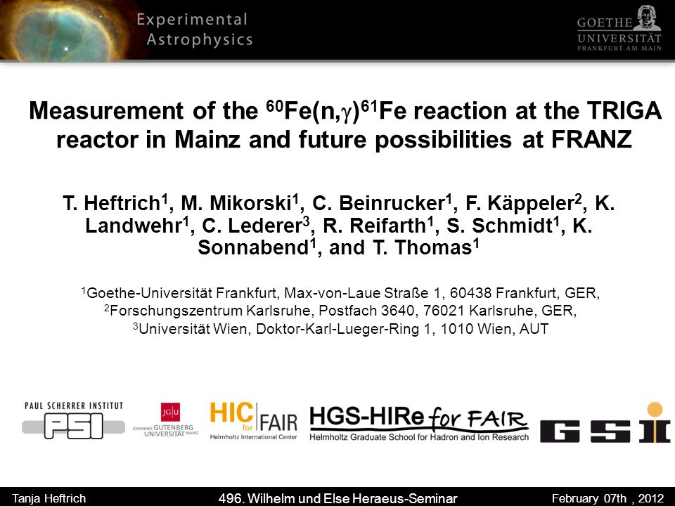 Measurement of the 60 Fe(n, ) 61 Fe reaction at the TRIGA reactor in Mainz and future possibilities at FRANZ T.