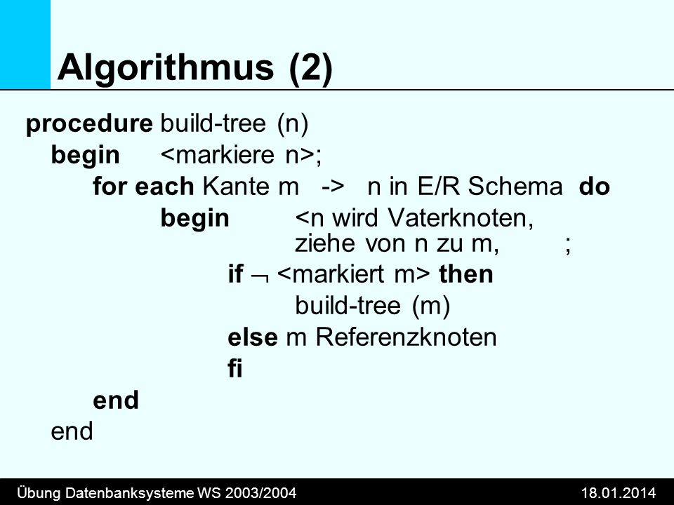 Übung Datenbanksysteme WS 2003/ Algorithmus (2) procedurebuild-tree (n) begin ; for each Kante m -> n in E/R Schema do begin <n wird Vaterknoten, ziehe von n zu m, ; if then build-tree (m) else m Referenzknoten fi end