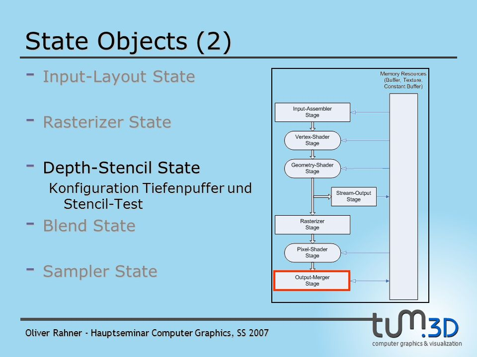 computer graphics & visualization Oliver Rahner - Hauptseminar Computer Graphics, SS 2007 State Objects (2) - Input-Layout State - Rasterizer State Status des Rasterisierers, u.a.