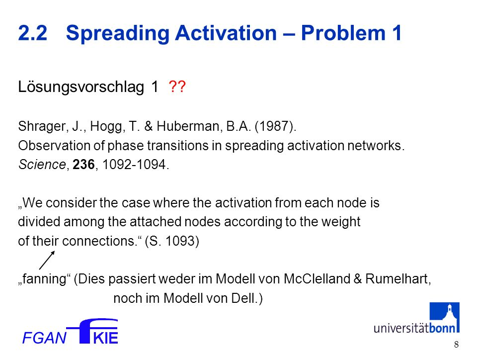 FGAN Spreading Activation – Problem 1 Lösungsvorschlag 1 .