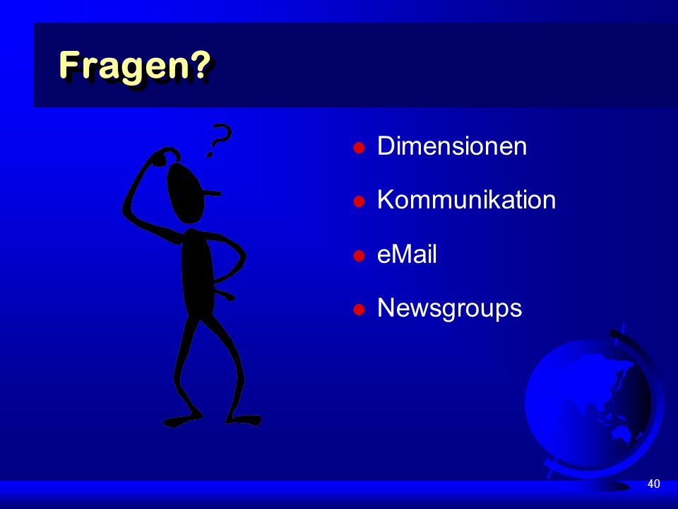 40 Fragen Dimensionen Kommunikation  Newsgroups