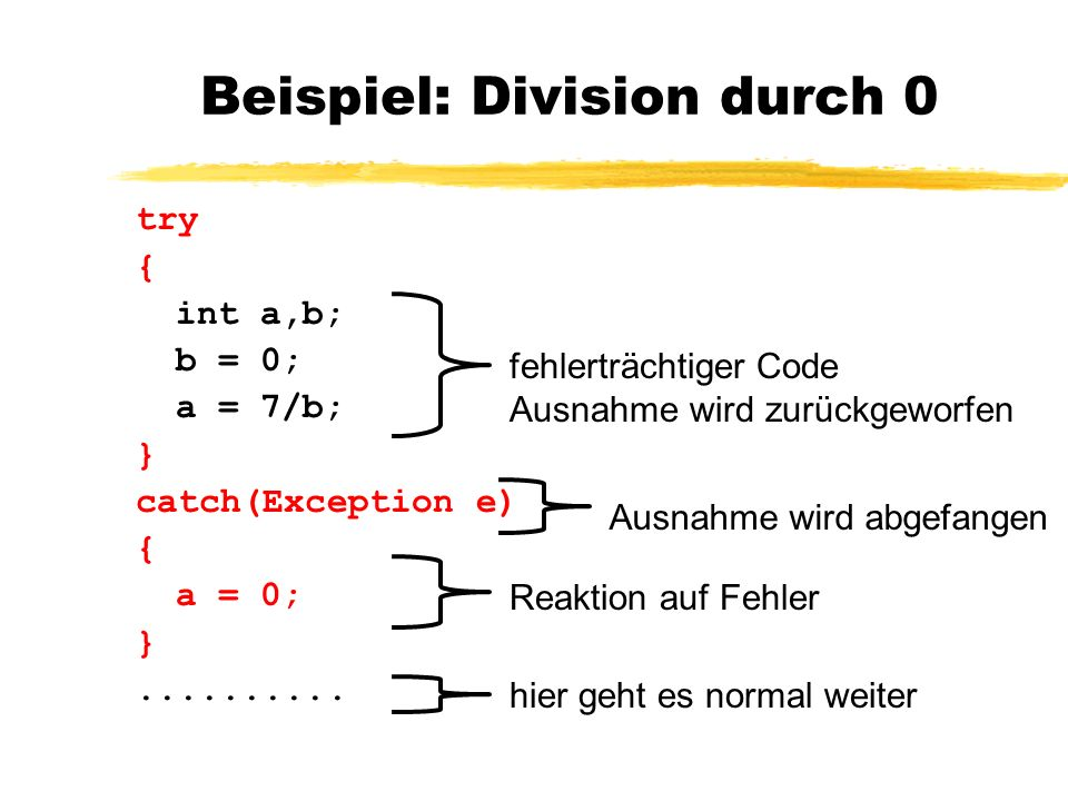 Beispiel: Division durch 0 try { int a,b; b = 0; a = 7/b; } catch(Exception e) { a = 0; }