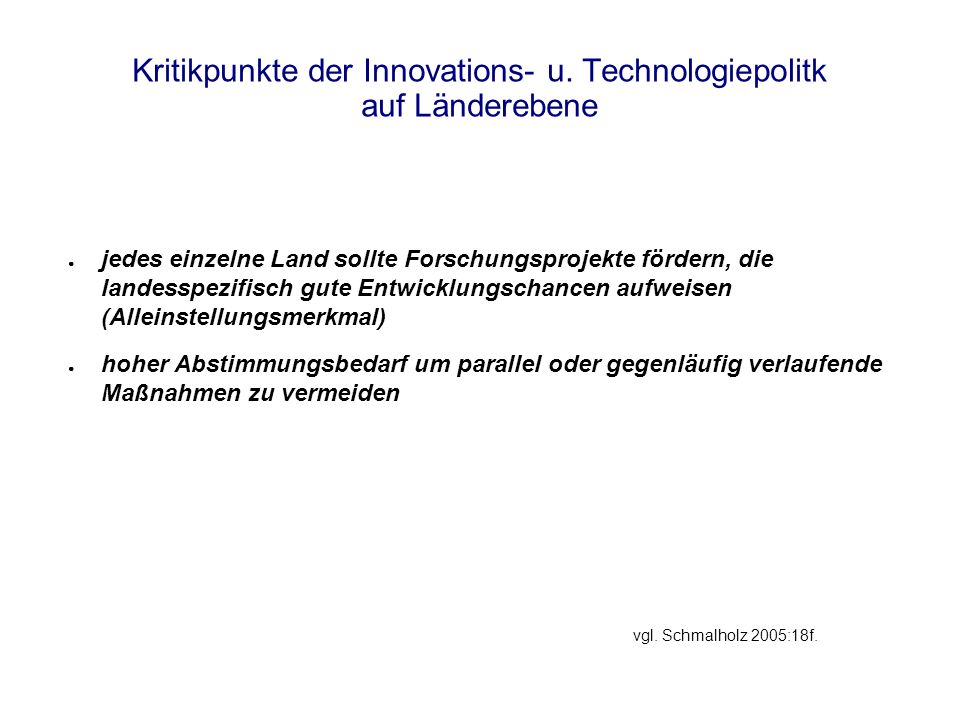 Kritikpunkte der Innovations- u.