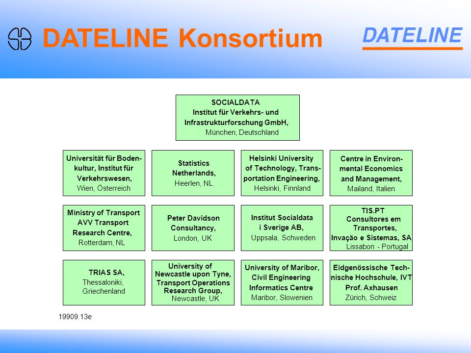 Weighting on Person Level DATELINE Konsortium SOCIALDATA Institut für Verkehrs- und Infrastrukturforschung GmbH, München, Deutschland Universität für Boden- kultur, Institut für Verkehrswesen, Wien, Österreich Ministry of Transport AVV Transport Research Centre, Rotterdam, NL TRIAS SA, Thessaloniki, Griechenland Transport Operations Research Group, University of Newcastle upon Tyne, Newcastle, UK University of Maribor, Civil Engineering Informatics Centre Maribor, Slowenien Eidgenössische Tech- nische Hochschule, IVT Prof.