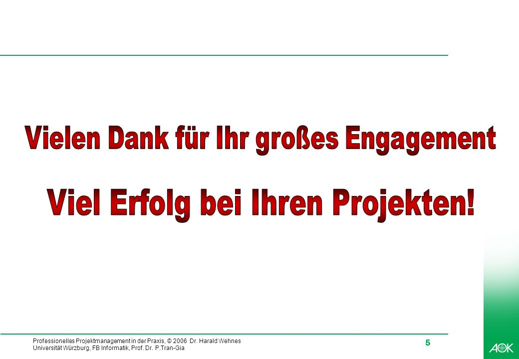 Professionelles Projektmanagement in der Praxis, © 2006 Dr.