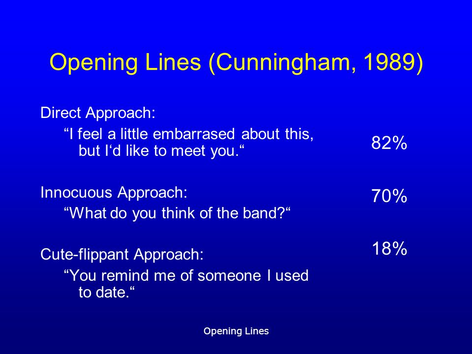 Opening Lines Opening Lines (Cunningham, 1989) Direct Approach: I feel a little embarrased about this, but Id like to meet you.