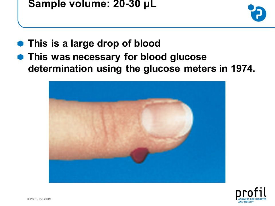 Sample volume: 20-30 μL This is a large drop of blood This was necessary for blood glucose determination using the glucose meters in 1974.