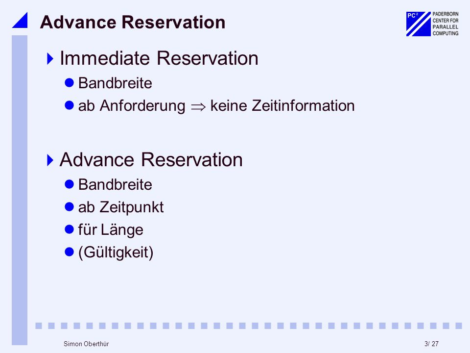 3/ 27Simon Oberthür Advance Reservation Immediate Reservation Bandbreite ab Anforderung keine Zeitinformation Advance Reservation Bandbreite ab Zeitpunkt für Länge (Gültigkeit)