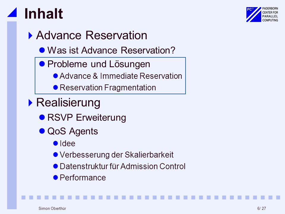 6/ 27Simon Oberthür Inhalt Advance Reservation Was ist Advance Reservation.