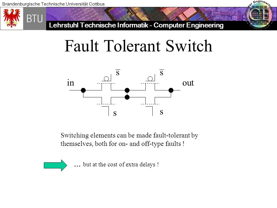 Lehrstuhl Technische Informatik - Computer Engineering Brandenburgische Technische Universität Cottbus Fault Tolerant Switch s s ss inout Switching elements can be made fault-tolerant by themselves, both for on- and off-type faults !...