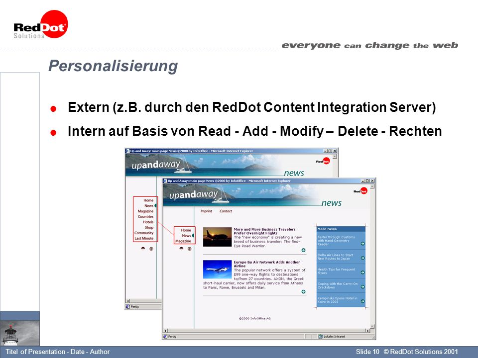 © RedDot Solutions 2001Slide 10Titel of Presentation - Date - Author Personalisierung Extern (z.B.