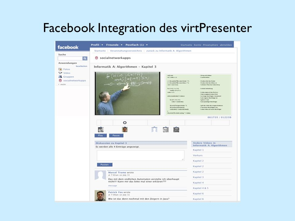 Facebook Integration des virtPresenter