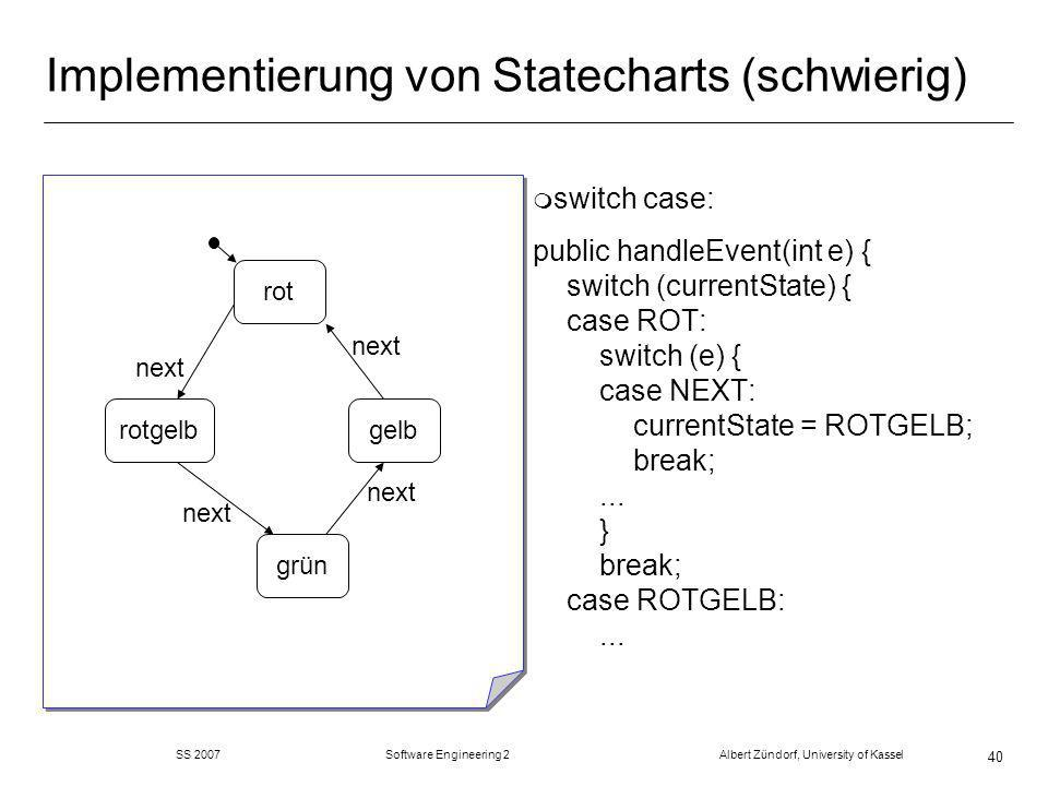 SS 2007 Software Engineering 2 Albert Zündorf, University of Kassel 40 Implementierung von Statecharts (schwierig) m switch case: public handleEvent(int e) { switch (currentState) { case ROT: switch (e) { case NEXT: currentState = ROTGELB; break;...