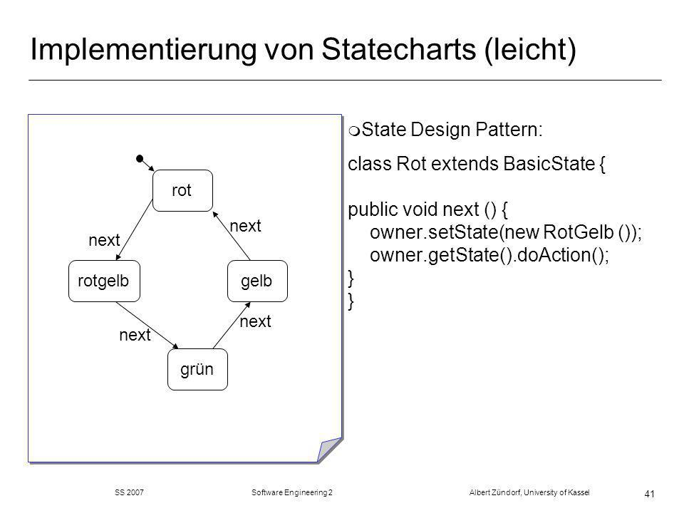 SS 2007 Software Engineering 2 Albert Zündorf, University of Kassel 41 Implementierung von Statecharts (leicht) m State Design Pattern: class Rot extends BasicState { public void next () { owner.setState(new RotGelb ()); owner.getState().doAction(); } } rot grün gelbrotgelb next