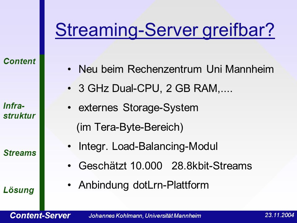 Content-Server Content Infra- struktur Streams Lösung Johannes Kohlmann, Universität Mannheim Streaming-Server greifbar.