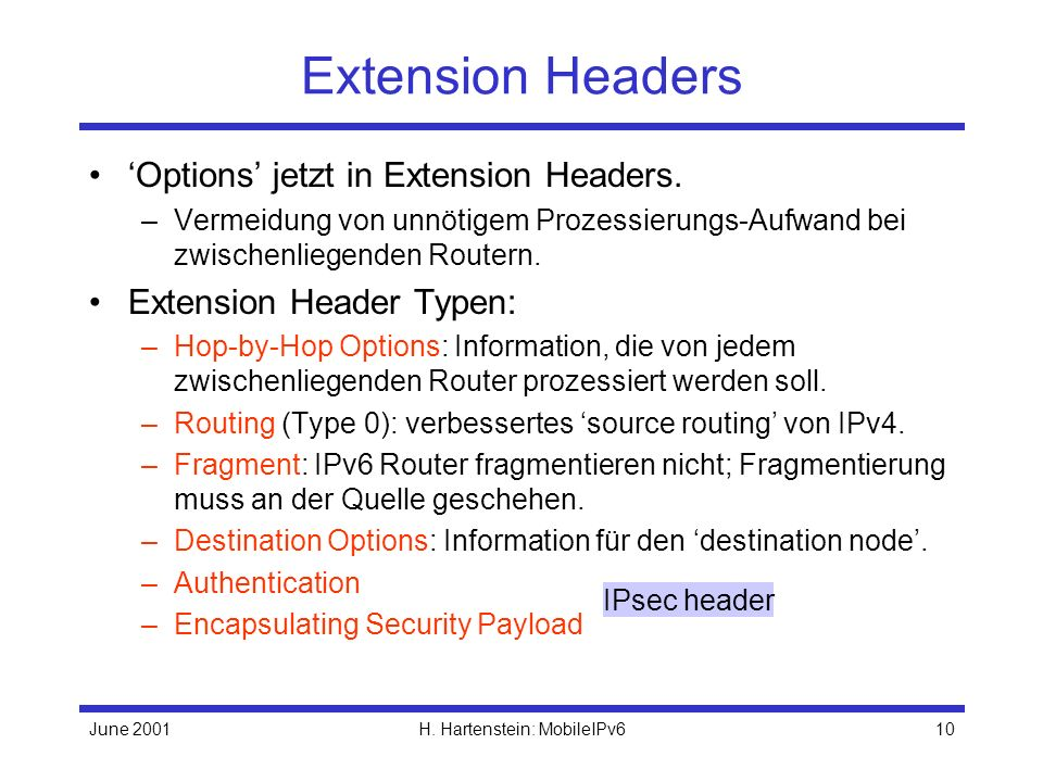 June 2001H. Hartenstein: MobileIPv610 Extension Headers Options jetzt in Extension Headers.